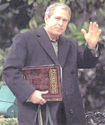 Bush with Talmud